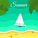 Seascape with Sailing Yacht. Summer Banner Royalty Free Stock Images