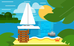 Seascape with Sailing Yacht. Summer Banner Royalty Free Stock Image