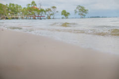 Seascape of sand shore Stock Images