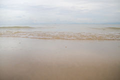Seascape of sand shore royalty free stock photo