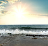Seascape. Sand, water and sea foam royalty free stock image