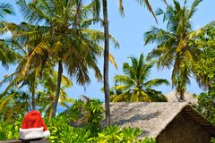 Seascape With Santa Hat, Maldives Royalty Free Stock Photo