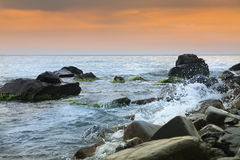 Seascape, scenic large stones against the sea and sky Royalty Free Stock Photography
