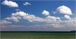 Seascape. Sea and clouds. Good weather Stock Photography