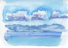 Seascape sea and clouds in watercolor style in watercolor style. Illustration Watercolor Picture of sea and clouds in watercolor style. Handmade picture in royalty free illustration