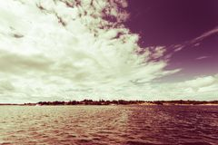 Seascape sea horizon and sky. Beautiful seascape evening sea horizon and sky. Tranquil scene. Natural composition of nature. Landscape. View from yacht royalty free stock images