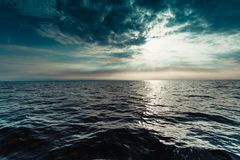 Seascape sea horizon and sky. Beautiful seascape evening sea horizon and sky. Tranquil scene. Natural composition of nature. Landscape. View from yacht royalty free stock photo