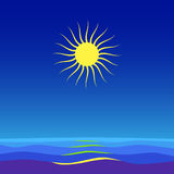 Seascape. Sea, waves and big sun on blue sky Royalty Free Stock Image