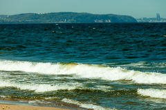 Seascape. Sea waves on shore of sandy beach. Stock Photography