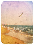 Seascape with seagulls. Old postcard Royalty Free Stock Photography