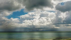 Seascape. Seaside, water and cloudy sky before rain Stock Photos