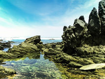 Seascape at Seaview 1. A view of rocks, rock pools, sky and sea at Seaview, Port Elizabeth, South Africa Royalty Free Stock Image