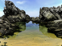 Seascape at Seaview 2. A view of rocks, rock pools, sky and sea at Seaview, Port Elizabeth, South Africa Stock Photography