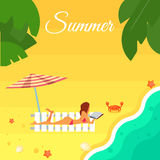 Seascape with Sexy Girl on Beach. Summer banner vector illustration. Sexy girl in red swimsuit sunbathes on beach under striped umbrella. Sand beach with sea Stock Photography