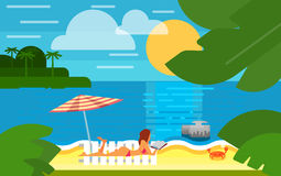Seascape with Sexy Girl on Beach. Summer banner vector illustration. Sexy girl in red swimsuit sunbathes on beach under striped umbrella. Summer beach with sea Royalty Free Stock Images