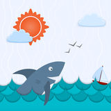 Seascape with shark and the ship Royalty Free Stock Photography