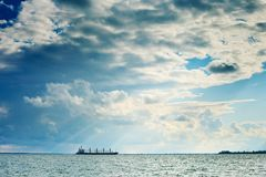 Seascape with a ship Royalty Free Stock Photo