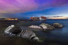 Seascape Ship wreck. Beautiful Seascape in twilight time at Angsila, Chonburi Thailand stock photography
