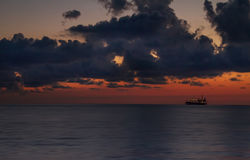 Seascape, ships at sunset, the defocused image Stock Photo