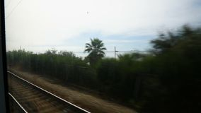 Seascape shown from train moving on railway track, summer vacation, travel. Stock footage stock video footage