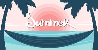 Seascape with silhouette of palm trees and hammock on the sunset background. vector illustration