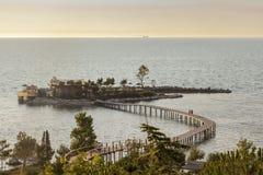 Seascape with small island  at the coast Albania Kavaje Stock Photo