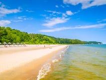 Seascape, Sopot, Poland. Sea coast with white sand, Baltic sea in Sopot, Poland, retro toned Stock Images