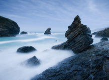 Seascape in Spain in a cloudy day Stock Photos