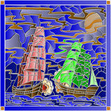 Seascape in the stained glass style with the battle of sailing ships Royalty Free Stock Photos