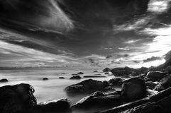 Seascape Stone and Heavy Cloundy. In Black and white Royalty Free Stock Images