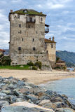 Seascape with Stones Medieval tower in Ouranopoli, Athos, Chalkidiki, Greece. Seascape with Stones Medieval tower in Ouranopoli, Athos, Chalkidiki, Central stock images