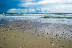 Seascape before the storm. Sea landscape with dark sky Stock Photography