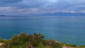 Seascape with stormy clouds near The Channel of Love, Canal d`amour in Sidari. Corfu Island, Greece.  stock footage