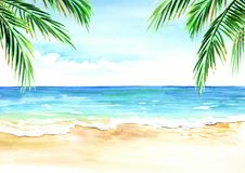 Seascape. Summer tropical beach with golden sand palm branches. Hand drawn horizontal watercolor illustration Royalty Free Stock Image