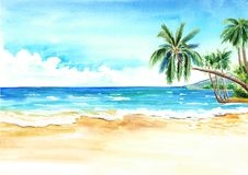Seascape. Summer tropical beach with golden sand and palmes. Hand drawn horizontal watercolor illustration.  Royalty Free Stock Photos