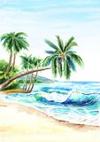 Seascape. Summer tropical beach with golden sand, waves and palmes. Hand drawn vertical watercolor illustration. Seascape. Summer tropical beach with golden stock illustration