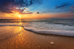 Seascape during sundown. Beautiful natural seascape Royalty Free Stock Photo