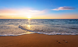 Seascape during sundown. Stock Photo