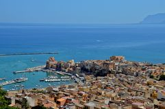 Quaint village on the Italian coast, in full Mediterranean climate royalty free stock photography