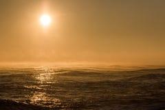 Free Seascape Sunrise. Beautiful Misty Morning Sun Over Sea With Background Wind Turbine Royalty Free Stock Photo - 152353655