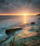 Seascape. During sunrise. Beautiful natural summer royalty free stock photo