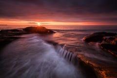 Seascape during sunrise. Beautiful natural summer seascape Royalty Free Stock Image