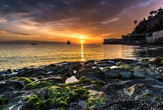 Sunrise over the horizon in Taormina, Sicily royalty free stock photo