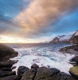 Seascape during sunrise in the Norway Royalty Free Stock Photo