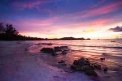 Seascape sunset on beach Royalty Free Stock Photos