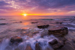Seascape in sunset. Beautiful natural of sea in summer Stock Images