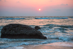 Seascape   at sunset of the coast of Varkala. India Royalty Free Stock Images