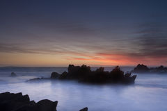 Seascape. At sunset in the eastern cape south africa Royalty Free Stock Image