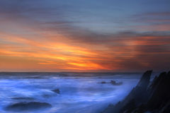 Seascape. At sunset in the eastern cape south africa Royalty Free Stock Photography