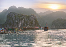 Seascape sunset at Halong Bay Royalty Free Stock Photo